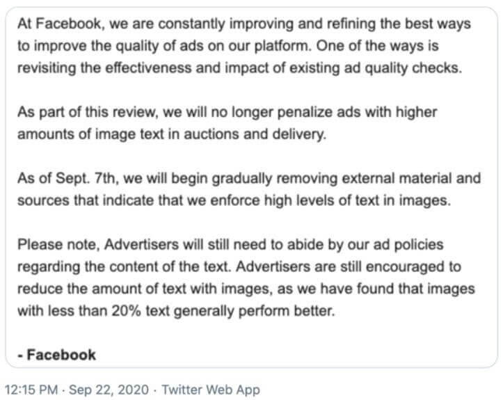 Facebook's 20% Ad Text Limit is No More | Elevate Digital